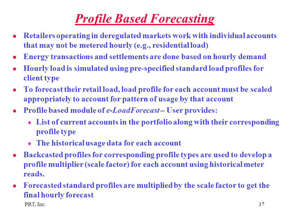Profile Based Forecasting