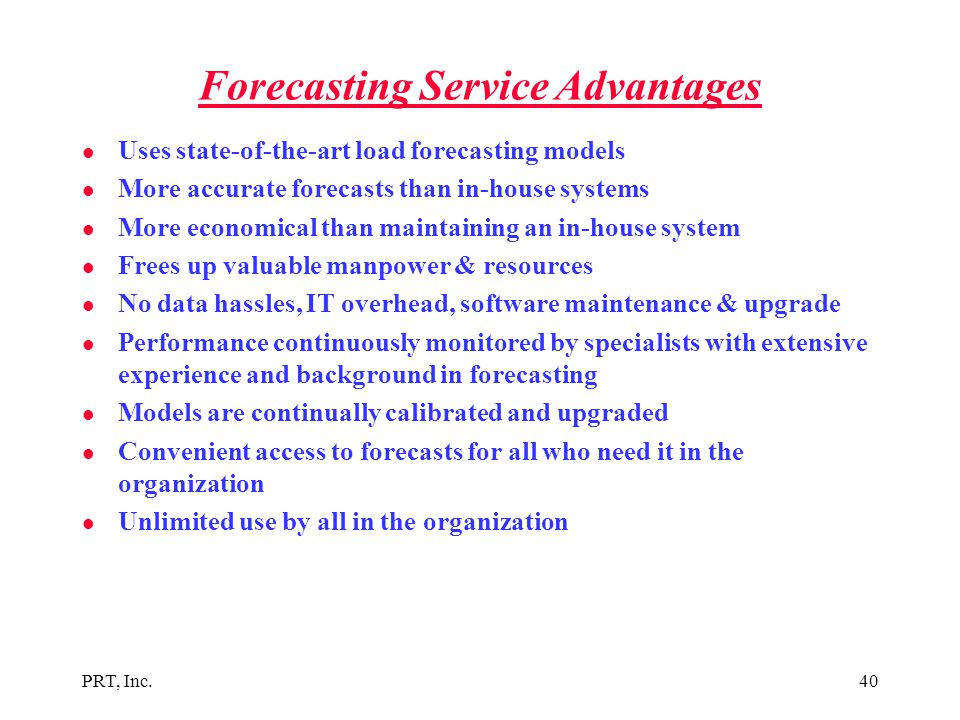 Forecasting Service Advantages