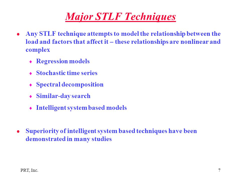 Major STLF Techniques