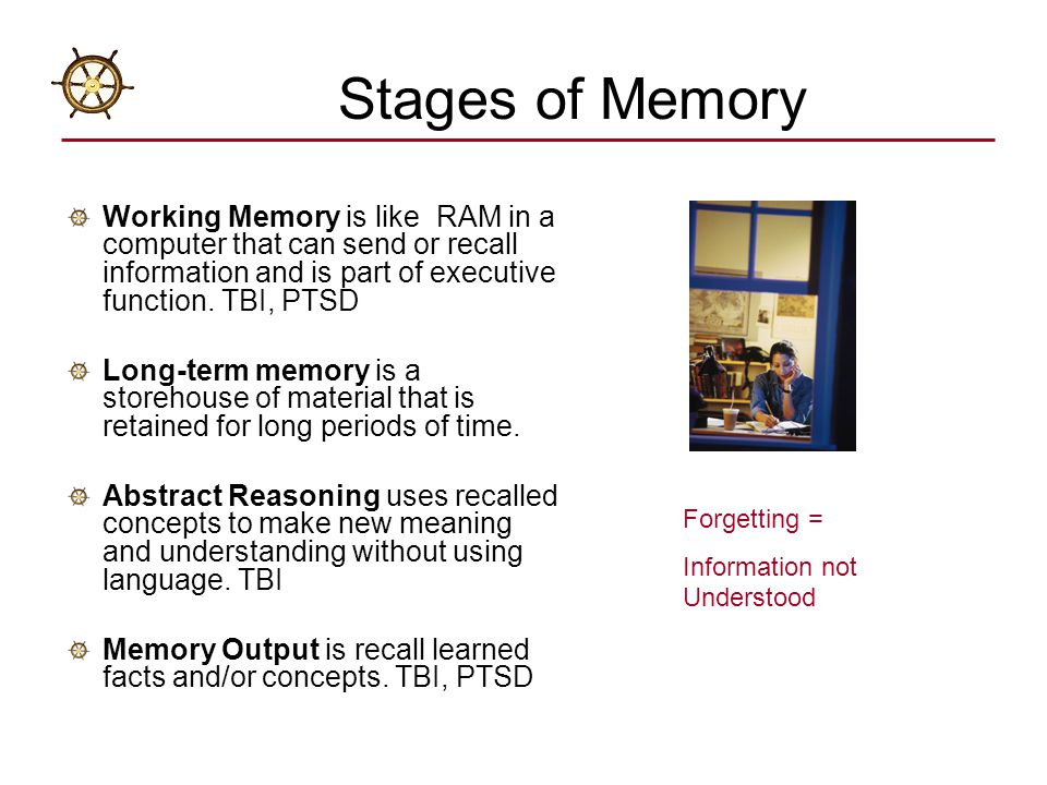 Stages of Memory Working Memory is like RAM in a computer that can send or recall information and is part of executive function. TBI, PTSD.