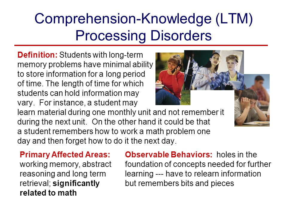 Comprehension-Knowledge (LTM) Processing Disorders