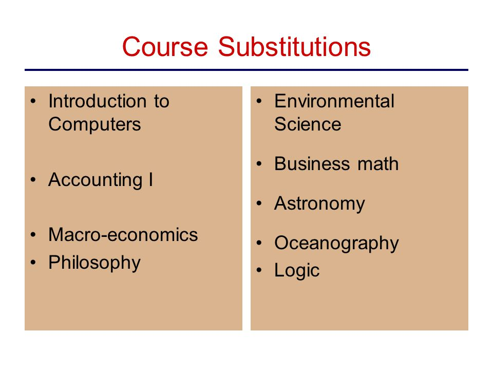 Course Substitutions Introduction to Computers Accounting I