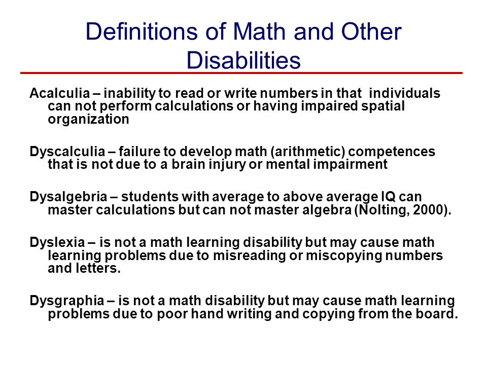 Definitions of Math and Other Disabilities