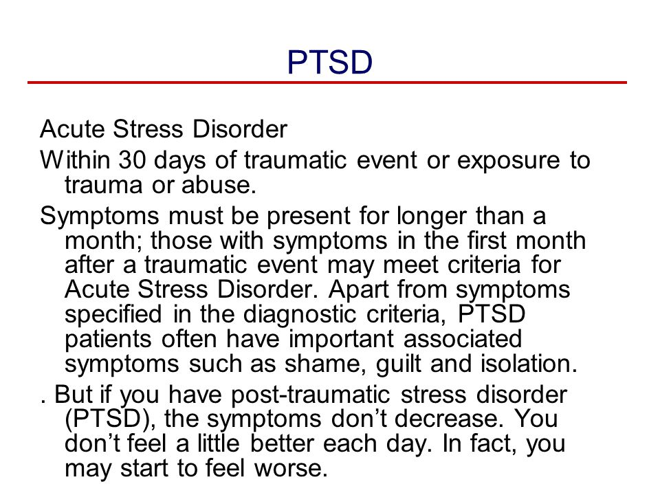 acute stress and trauma Ptsd in dsm-5: understanding the changes james phillips , md sep 25, 2015 do the same for acute stress disorder that simple maneuver, useful as it is for clinical practice, does hide some of in the introductory paragraph to the trauma- and stressor-related disorders section, the.