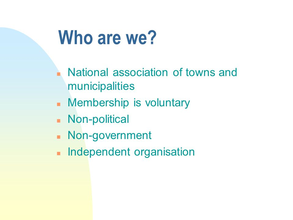 Who are we National association of towns and municipalities