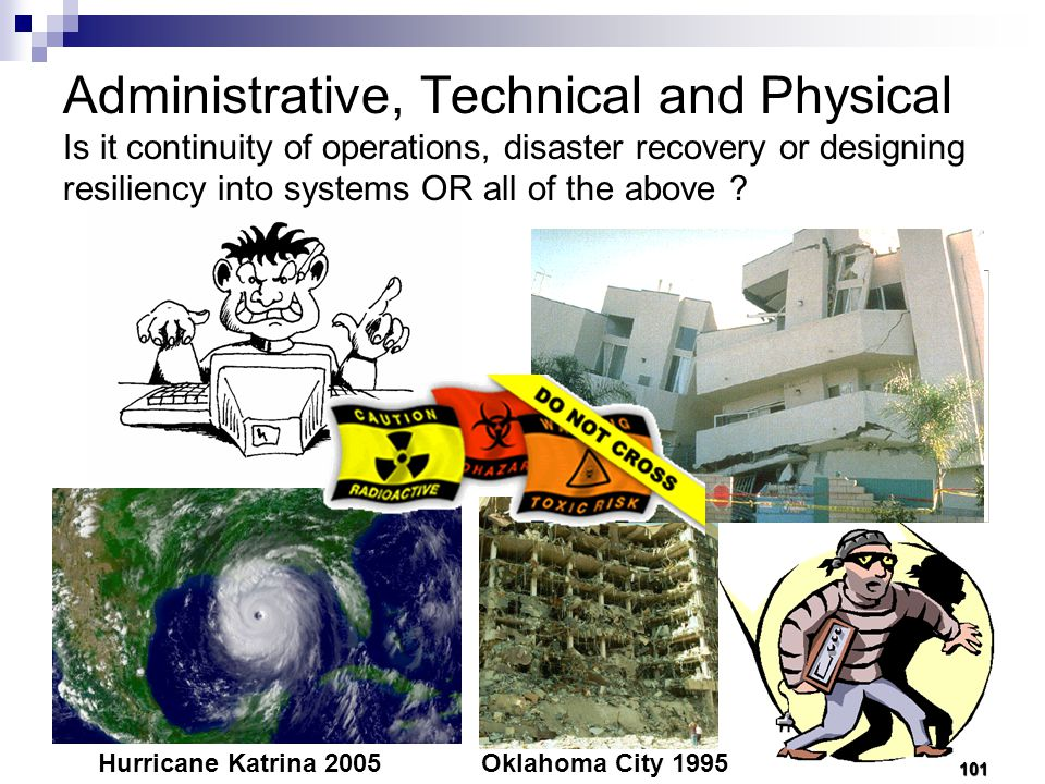 Administrative, Technical and Physical Is it continuity of operations, disaster recovery or designing resiliency into systems OR all of the above