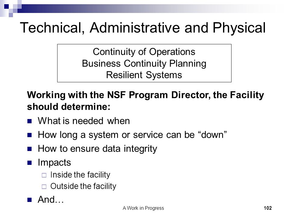 Technical, Administrative and Physical