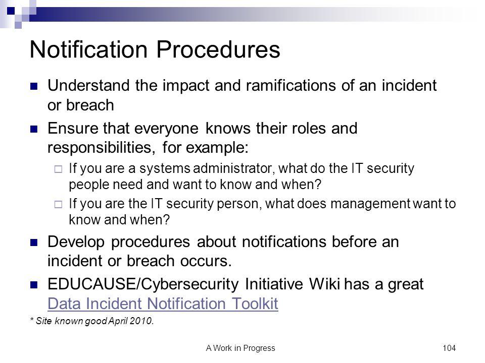 Notification Procedures