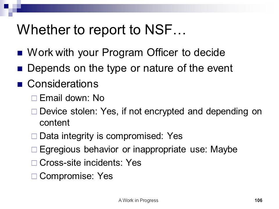 Whether to report to NSF…