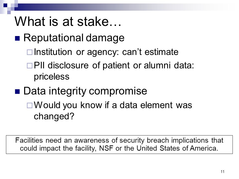 What is at stake… Reputational damage Data integrity compromise