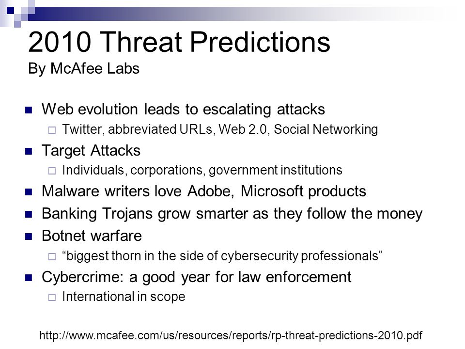 2010 Threat Predictions By McAfee Labs