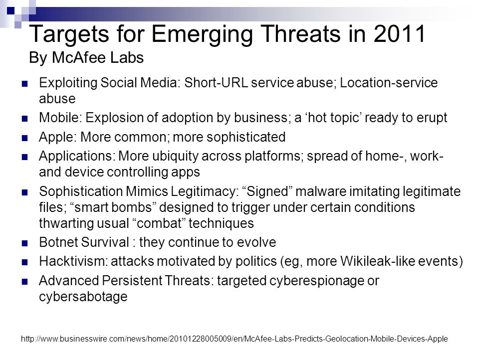 Targets for Emerging Threats in 2011 By McAfee Labs