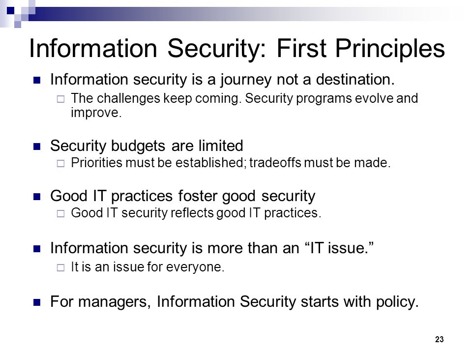 Information Security: First Principles