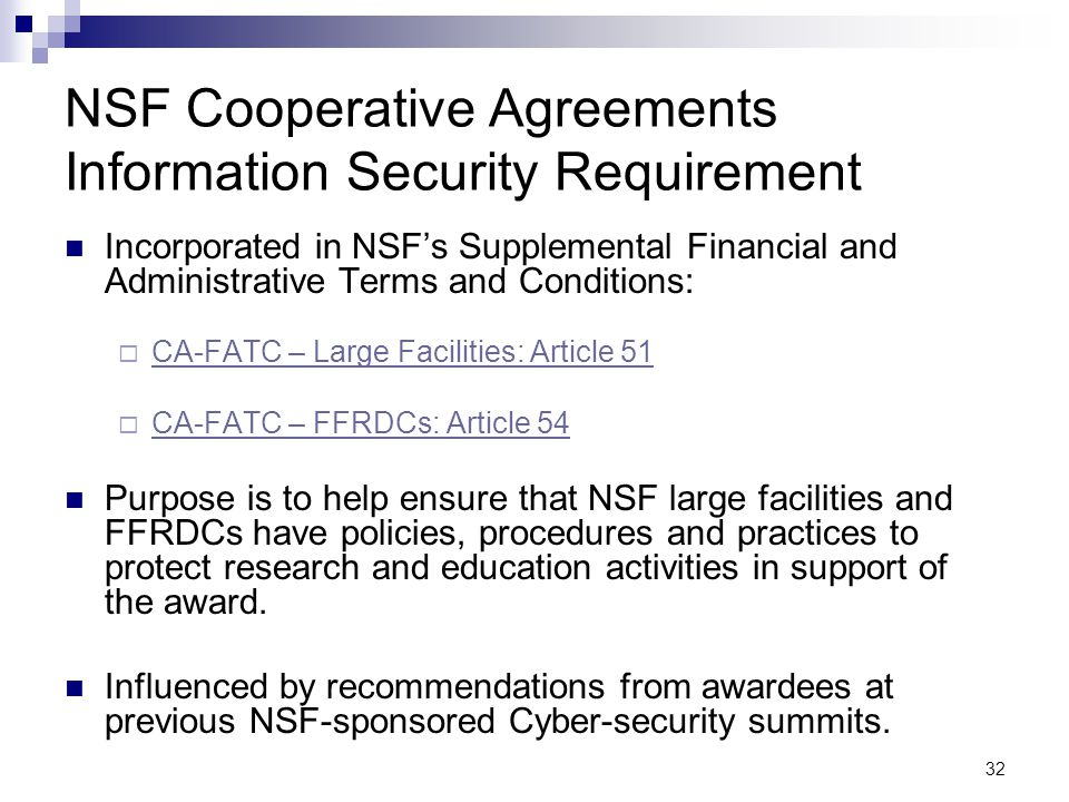 NSF Cooperative Agreements Information Security Requirement