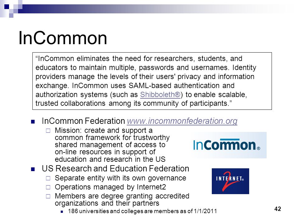 InCommon InCommon Federation www.incommonfederation.org