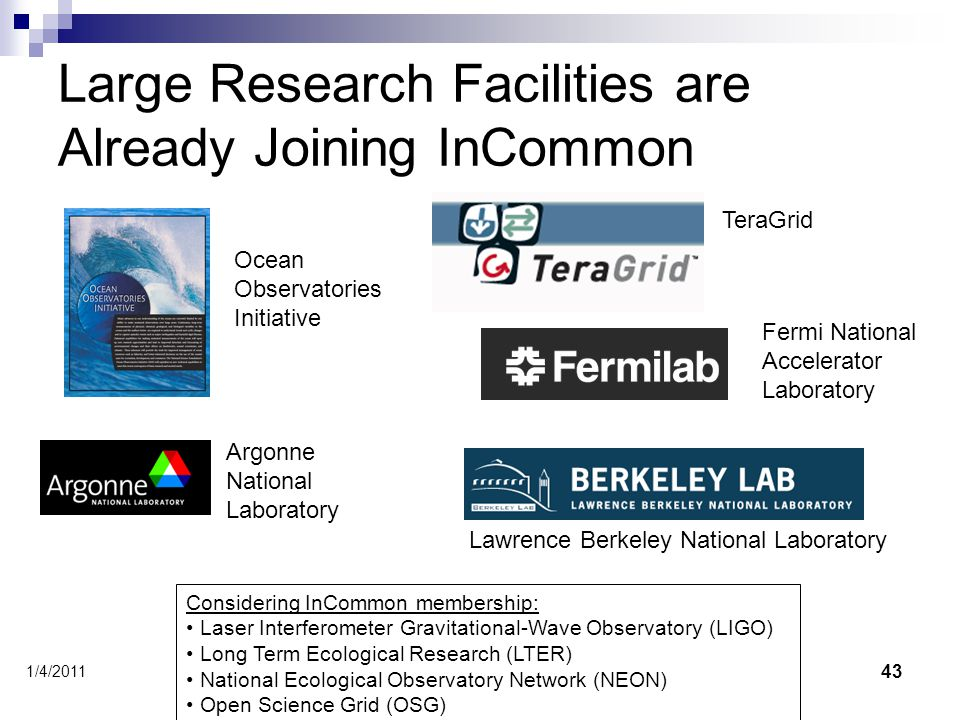 Large Research Facilities are Already Joining InCommon