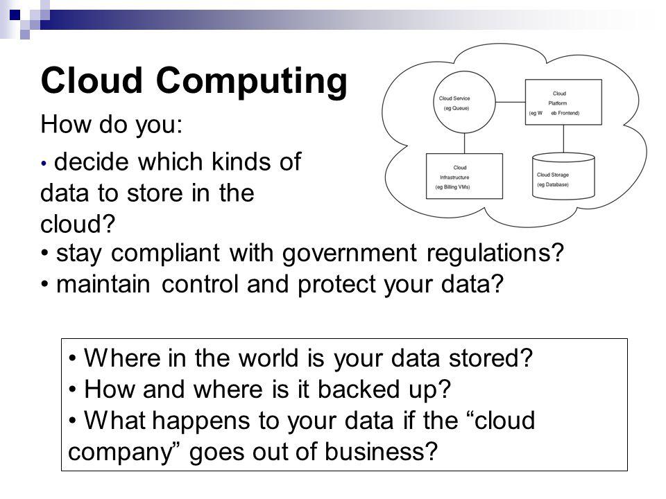 Cloud Computing How do you: