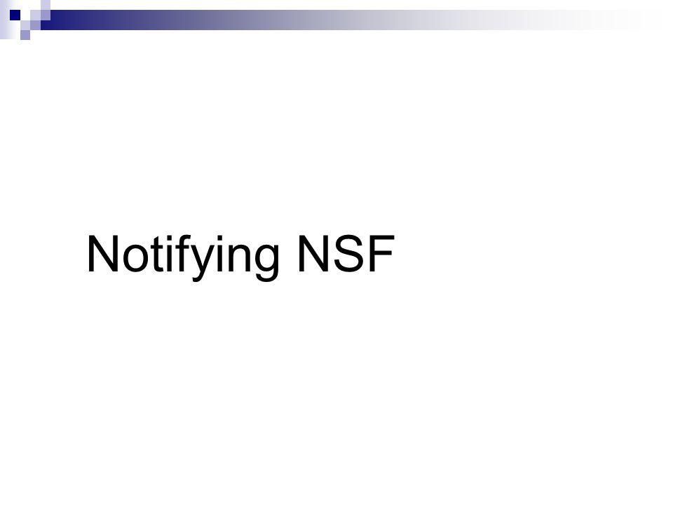 Notifying NSF