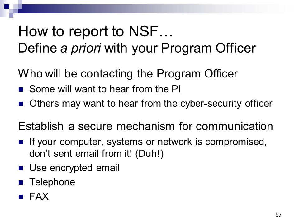 How to report to NSF… Define a priori with your Program Officer