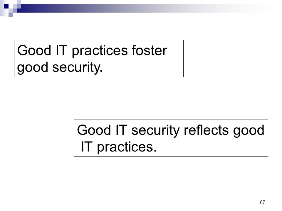 Good IT practices foster good security.