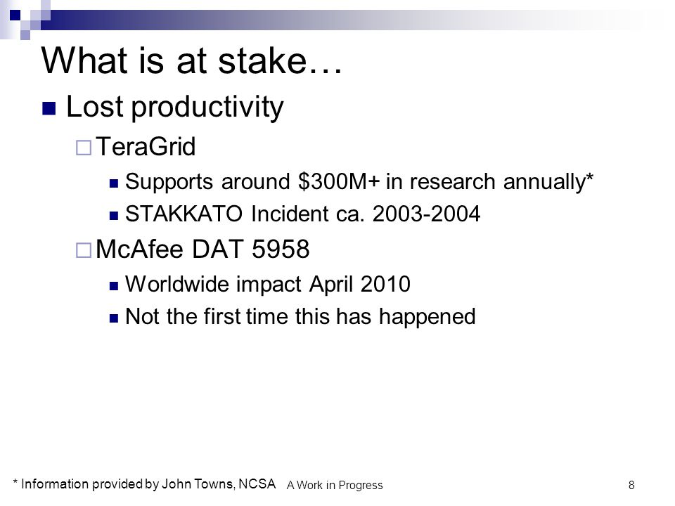 What is at stake… Lost productivity TeraGrid McAfee DAT 5958