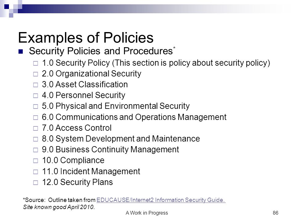 Examples of Policies Security Policies and Procedures*
