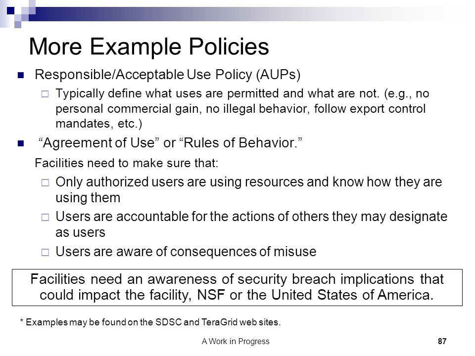 More Example Policies Responsible/Acceptable Use Policy (AUPs)