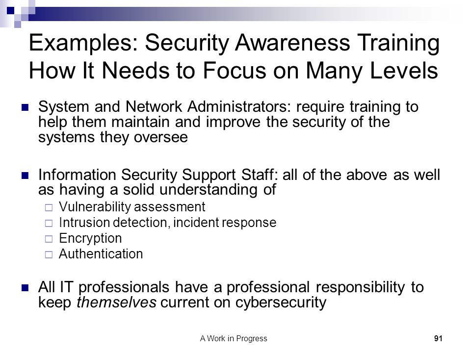 Examples: Security Awareness Training How It Needs to Focus on Many Levels