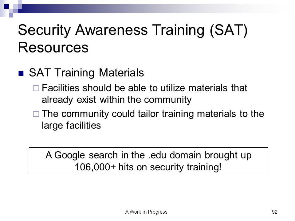 Security Awareness Training (SAT) Resources