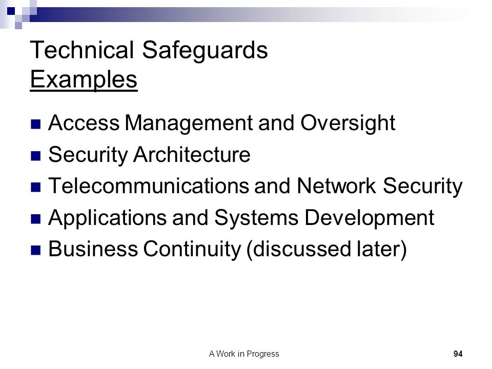Technical Safeguards Examples