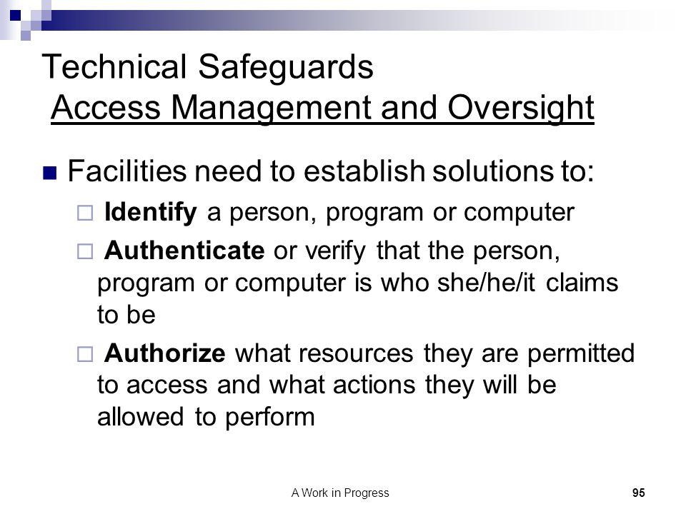 Technical Safeguards Access Management and Oversight