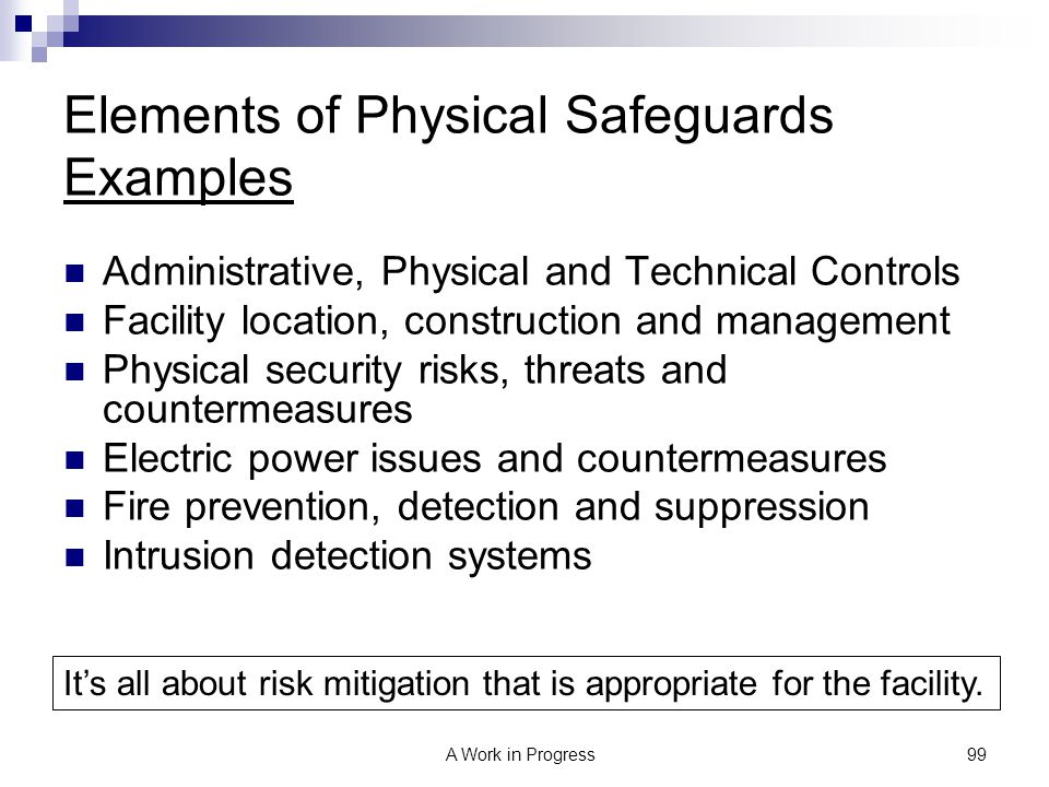 Elements of Physical Safeguards Examples