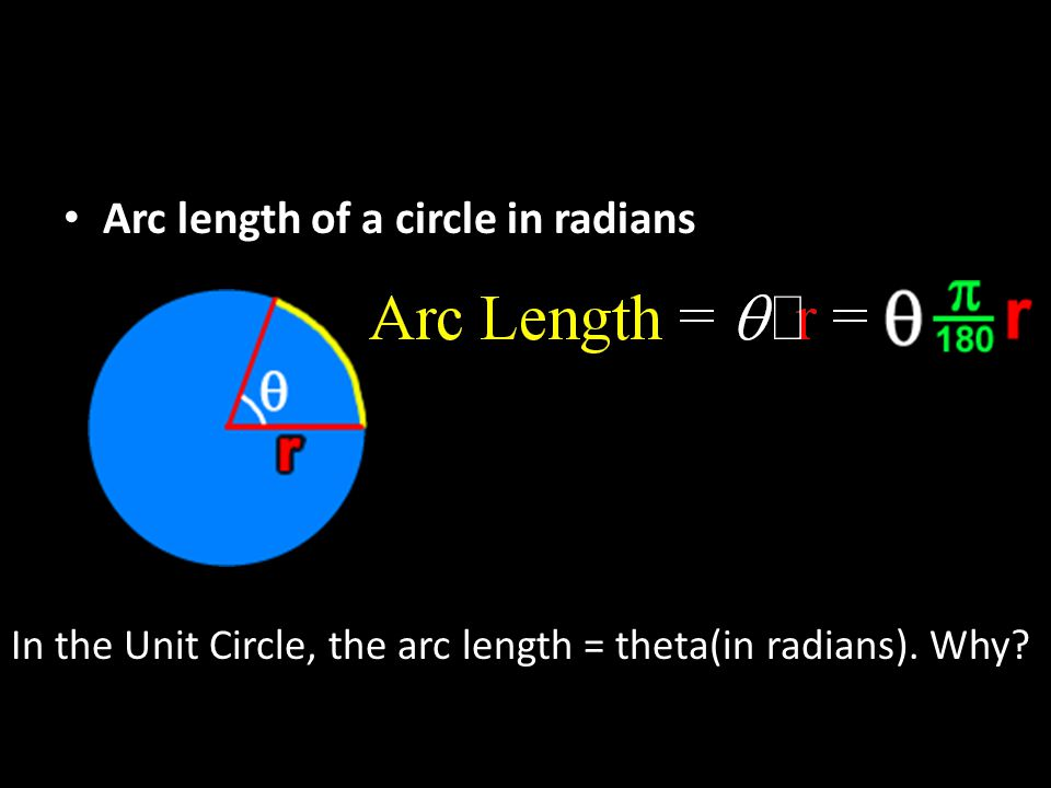 Arc length of a circle in radians