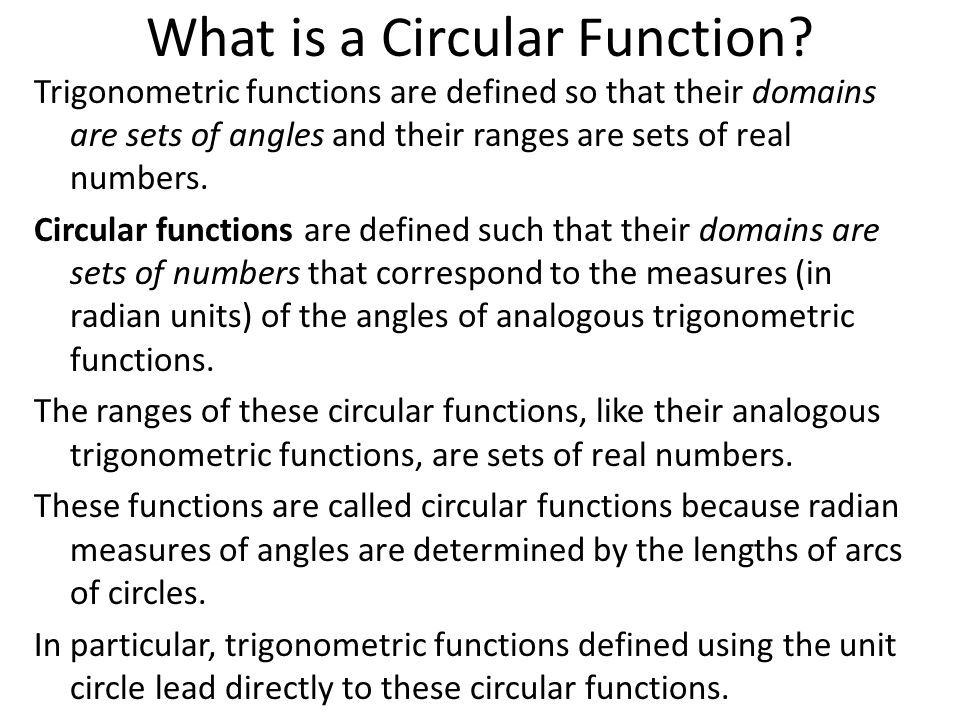 What is a Circular Function