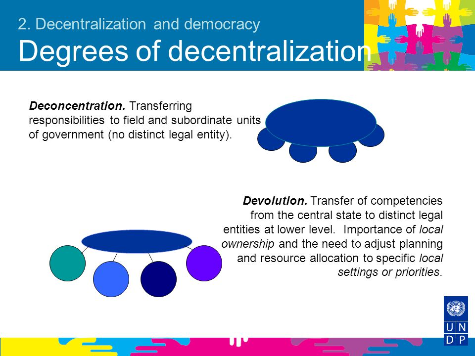 2. Decentralization and democracy Degrees of decentralization