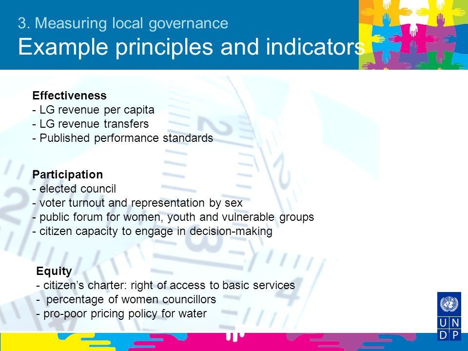 3. Measuring local governance Example principles and indicators
