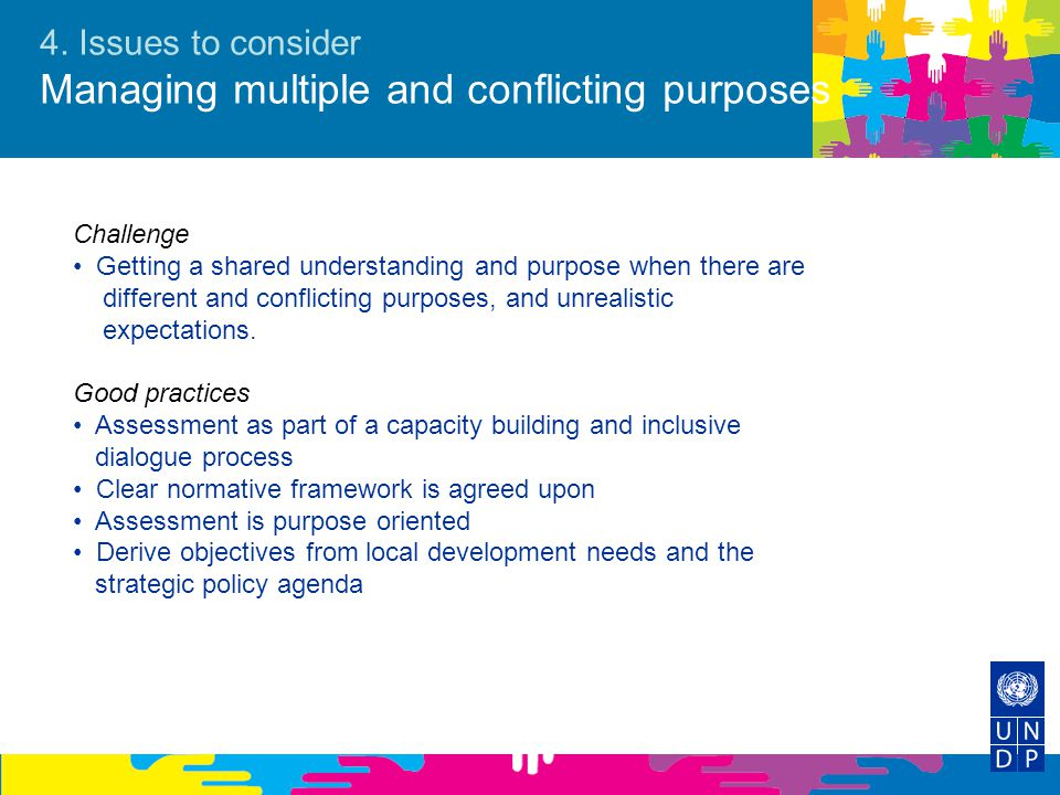 4. Issues to consider Managing multiple and conflicting purposes