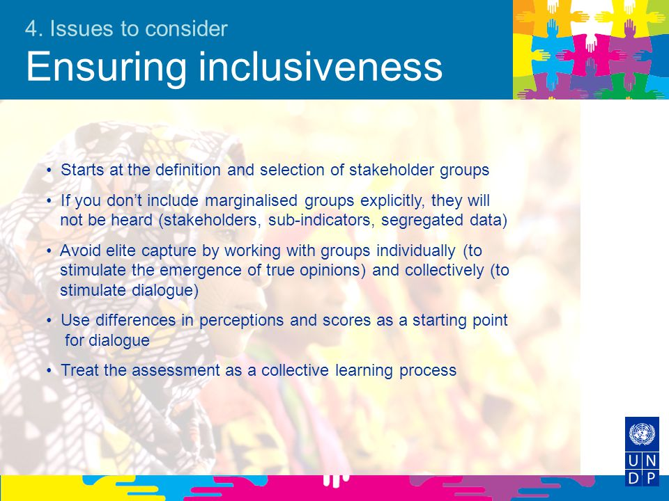 4. Issues to consider Ensuring inclusiveness