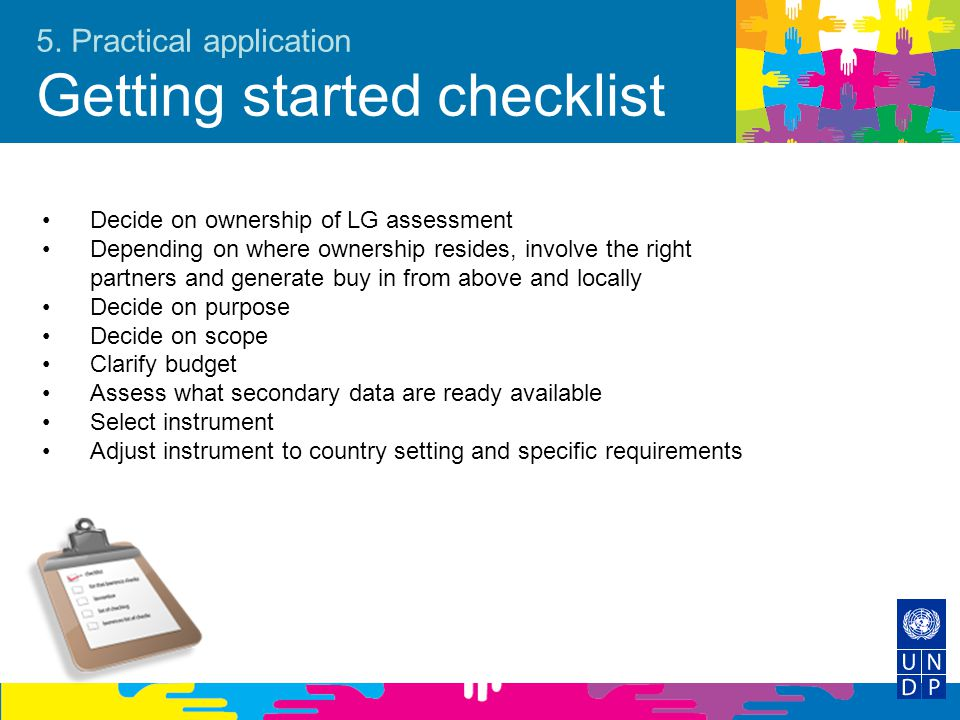 5. Practical application Getting started checklist