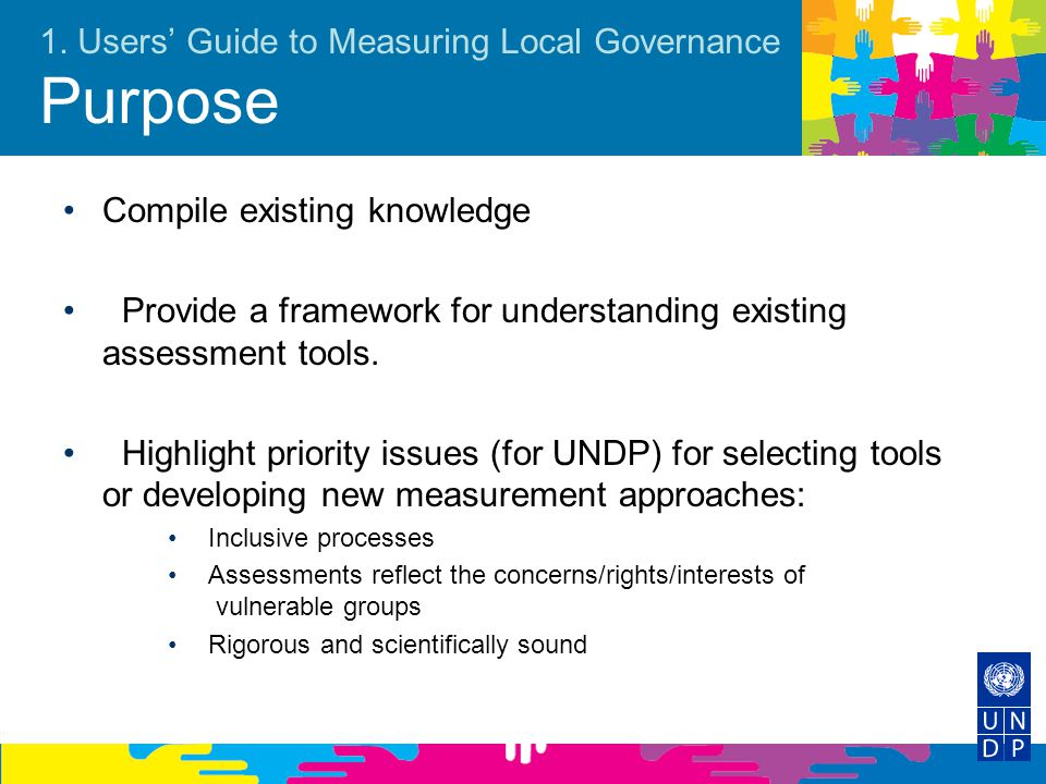 1. Users' Guide to Measuring Local Governance Purpose