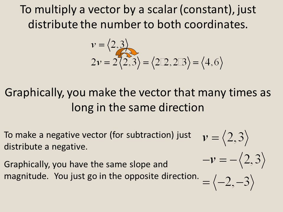To multiply a vector by a scalar (constant), just distribute the number to both coordinates.