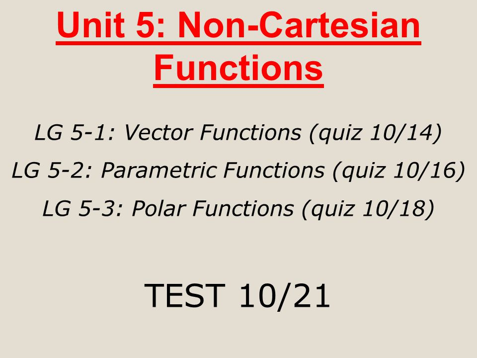 Unit 5: Non-Cartesian Functions
