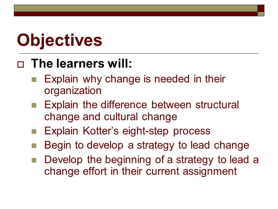 Objectives The learners will: