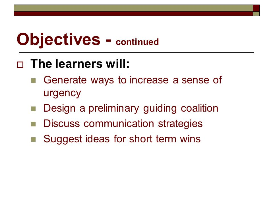 Objectives - continued
