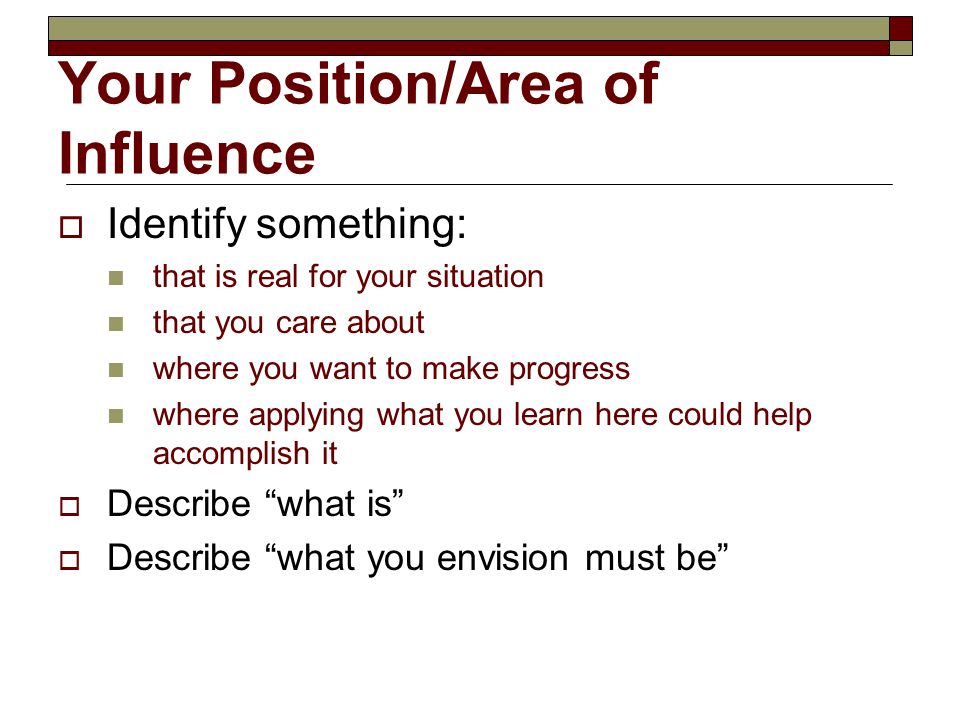 Your Position/Area of Influence