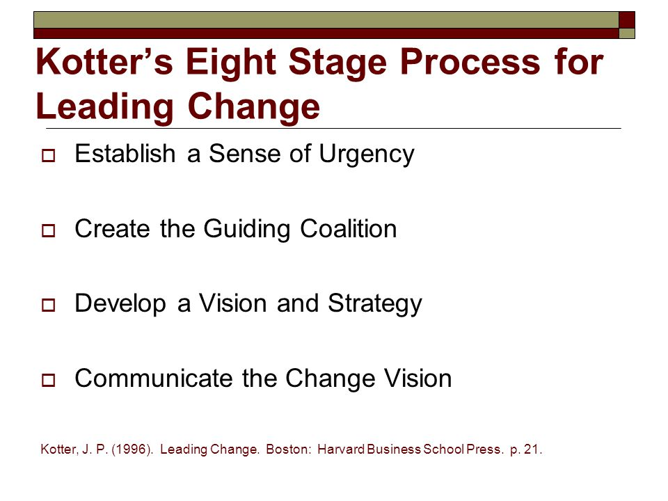 Kotter's Eight Stage Process for Leading Change