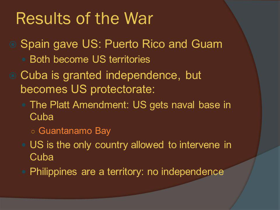Results of the War Spain gave US: Puerto Rico and Guam