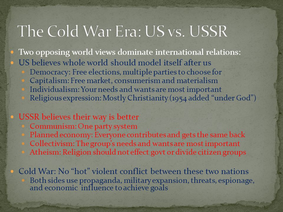 The Cold War Era: US vs. USSR