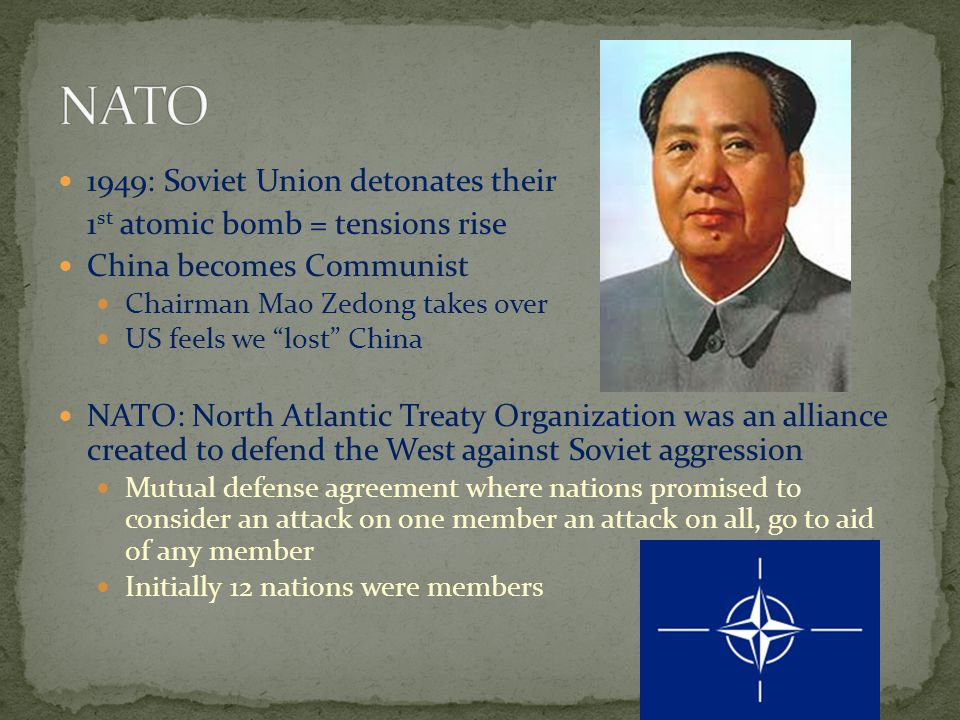 NATO 1949: Soviet Union detonates their