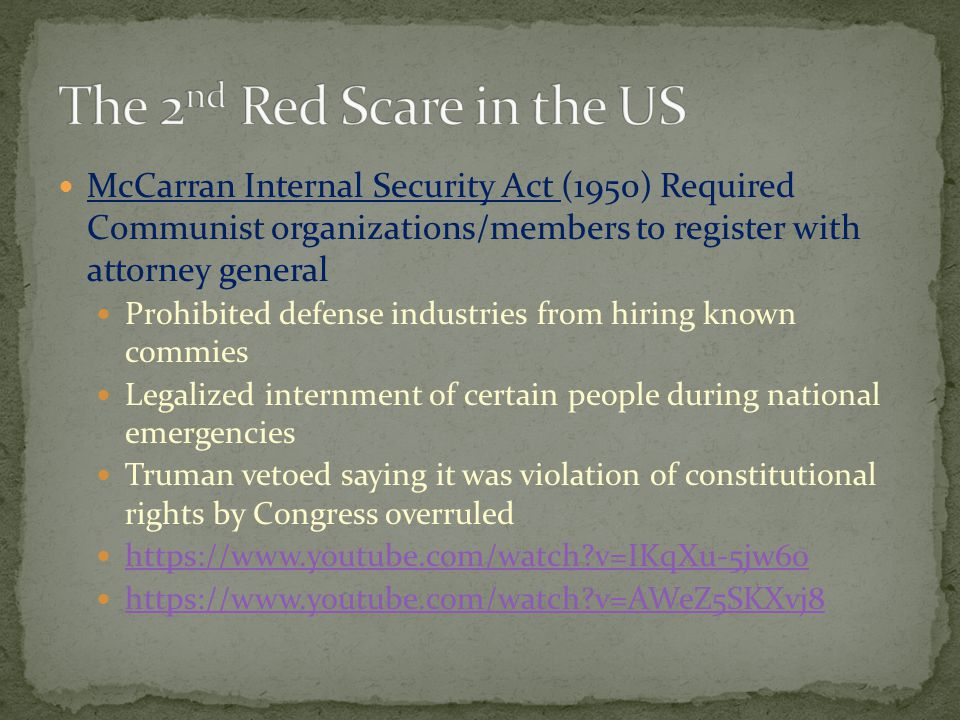 The 2nd Red Scare in the US